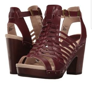Jambu Valentina open toe leather sandals in wine